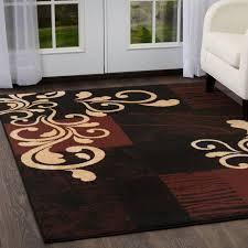 brown vines scrolls modern 4x6 area rug contemporary carpet actual 3 7 x5