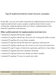 top8implementationleadresumesamples 150601110639 lva1 app6891 thumbnail 4 jpg cb 1433156849