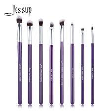 jessup brand purple silver 8pcs eye brush set blending eyeshadow angled eyeliner smoked bloom makeup