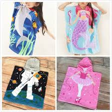 Absorbent Cotton Kids Hooded Poncho Bath Towel Shark Cartoon Mermaid Astronaut Hoodie Children Beach Towel Swimming Wearable Hoody Cloak Poncho Turkish Beach Towel Wash Alibaba Kids Hooded Poncho Bath Towel Shark Cartoon Mermaid Astronaut Hoodie