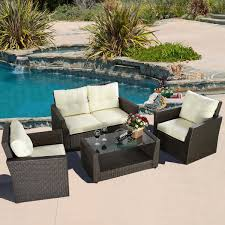 rattan wicker patio furniture sets. 4pc rattan wicker sofa patio garden cushioned seat brown furniture sets