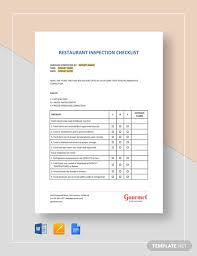 Restaurant Inspection Checklist Template Word Google