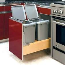Pull Out Trash Can Ikea Cabinet Kitchen With Bin Under Sink Waste Basket
