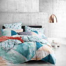 logan and mason neo teal geometric king size bed doona duvet quilt cover set
