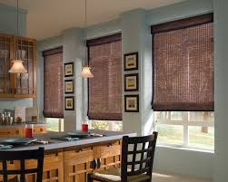 image of bamboo roman shades for sliding glass doors