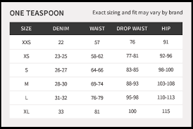 One Teaspoon Clothing Size Chart Ford Hunters Shorts