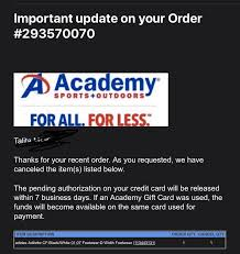 Payment cards are part of a payment system issued by financial institutions, such as a bank. Academy Sports Outdoors On Twitter Hi Thank You For Reaching Out We Sincerely Apologize That Your Order Was Canceled Due To Low Inventory We Appreciate Your Business And Sincerely Apologize For