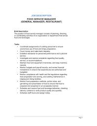 How To Get A Restaurant Job Food Service Manager General Manager Restaurant Job
