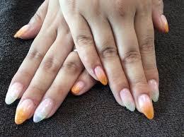 Nail Salon Freestyleオレンジラメオーロララメのグラデーション