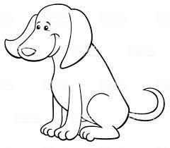 幸せな犬がかわいいキャラクターの塗り絵 お絵かきのベクターアート素材や画像を多数ご用意