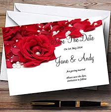 Red Save The Date Cards White Pearl Red Rose Petals Personalized Wedding Save The Date Cards
