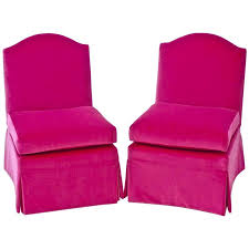 classic vintage slipper chairs pair in hot pink upholstery fabric for