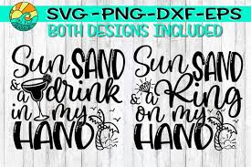 Svg file assembled (perfect for print and cut projects, no tracing needed!) png preview image of completed designs Sun Sand Ring On My Hand Drink In My Hand Both Designs 294950 Svgs Design Bundles