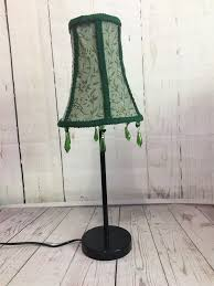 lampshade green fabric table top with green crystal chandelier beads