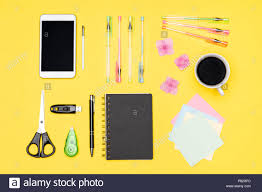 student desk top view. Exellent Desk Student Desk Flat Lay Top View Of Working Space Table With Morning Coffee  Smartphone And Stationery Office Supplies On Pastel Yellow Background Intended Desk View S