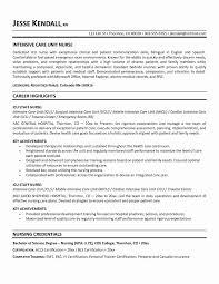 Example Nursing Resume Inspirational Updated Critical Care Nursing