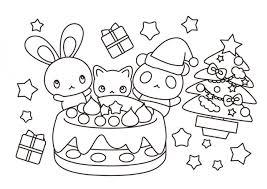 クリスマスケーキうさぎパンダ猫の塗り絵 無料イラスト素材