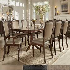 lasalle espresso pedestal extending table dining set by inspire q clic