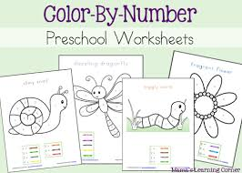 Small Picture Color By Number Preschool Worksheets Mamas Learning Corner