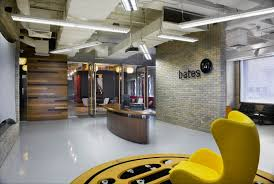 yellow office decor. Office:Great Looking Office Design With Brick Wall And Comfy Yellow Wing Chair Also White Decor E