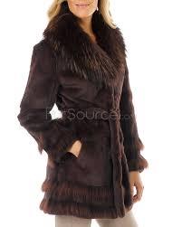 fur coat sheared rabbit with rac fur trim