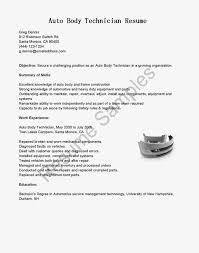 Sample Resume For Entry Level Auto Technician Fresh Auto Body