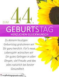 Schlichte Geburtstagskarte Mit Sonnenblumen Zum 44 Geburtstag