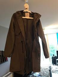 men s green trench coat h m size small knee length
