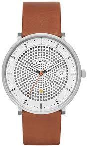 men s skagen hald brown leather watch skw6277 loading zoom