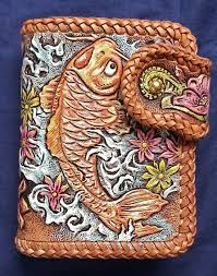 custom made koi hand tooled hand carved leather billfold wallet double loop lacing