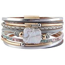 details about womens strand leather cuff bracelet baroque pearl wrap bracelets gorgeous gold