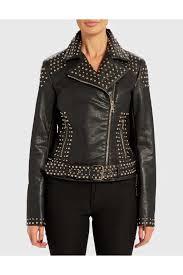 muse black leather effect studded biker jacket