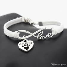 fashion women s antique silver bangles leather animals dogs love cat animal bear paws charms pendant love bracelet best gift for kids white gold charm