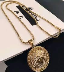 details about full diamond hiphop medusa pendant necklaces for men brand design gold plated