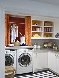 Laundry Room: Small Laundry Room Layout With Orange Color - Radiators