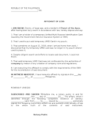 Template Affidavit Loss Of Of Affidavit