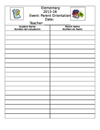 Parents Sign In Sheet Parent Sign In Sheet English And Spanish By A To Z Resources Tpt