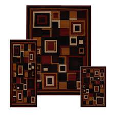 pc set modern contemporary geometric area rug runner accent mat
