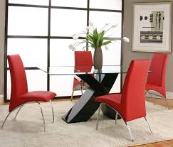 Red dining table set Room Chairs Rectangular Glass Table Top With Black Base Value City Furniture Cramco Inc Mensa Rectangular Tempered Glass Table Top With