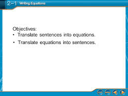 2 translate sentences into equations