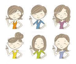 いろいろな髪型 笑顔の若い女性イラストセット イラスト素材 4736078