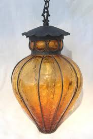 retro lighting pendants. Vintage Wrought Iron Lantern Pendant Light Fixture, Hanging Lamp W/ Amber Glass Shade Retro Lighting Pendants