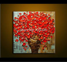 oil painting on canvas palette knife thick oil red flowers painting modern european decoration painting canvas