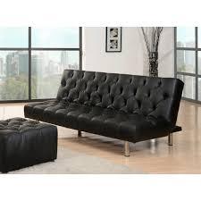 abbyson living avalon black faux leather convertible sofa bca living room furniture