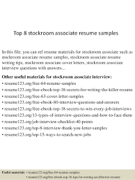Top 8 stockroom associate resume samples In this file, you can ref resume  materials for ...