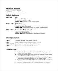 Academic Resume Template 6 Free Word Pdf Document Downloads 2018