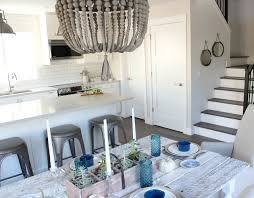 wood beaded chandelier modern farmhouse style kitchen and dining satori design for living