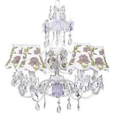 jubilee collection flower garden lavender and white five light mini chandelier with lavender and green
