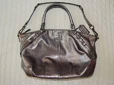 COACH – MADISON Silver Metallic Leather Satchel Shoulder Hand Bag Handbag  Purse