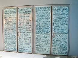 laminated glass doors with etched and digitally printed imagery back lit